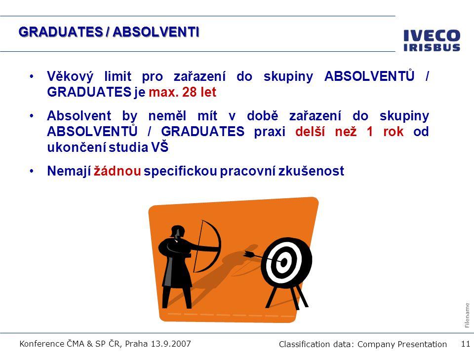 Filename Classification data: Company Presentation Konference ČMA & SP ČR, Praha 13.9.2007 11 GRADUATES / ABSOLVENTI Věkový limit pro zařazení do skup