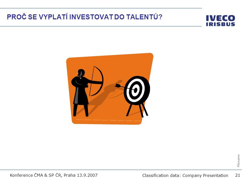 Filename Classification data: Company Presentation Konference ČMA & SP ČR, Praha 13.9.2007 21 PROČ SE VYPLATÍ INVESTOVAT DO TALENTŮ?