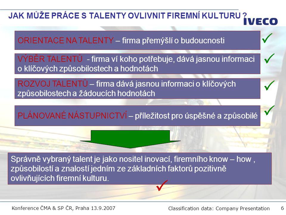Filename Classification data: Company Presentation Konference ČMA & SP ČR, Praha 13.9.2007 7 PROČ POTŘEBUJEME MANAGEMENT TALENTŮ .