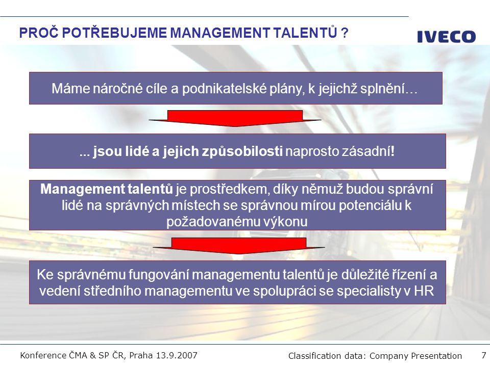 Filename Classification data: Company Presentation Konference ČMA & SP ČR, Praha 13.9.2007 8 ROZLIŠOVÁNÍ TALENTŮ Je nutno zaměřit se na identifikaci osob s vysokým potenciálem a budoucí vedoucí pracovníky a zároveň určit další osoby s klíčovým přínosem pro společnost.