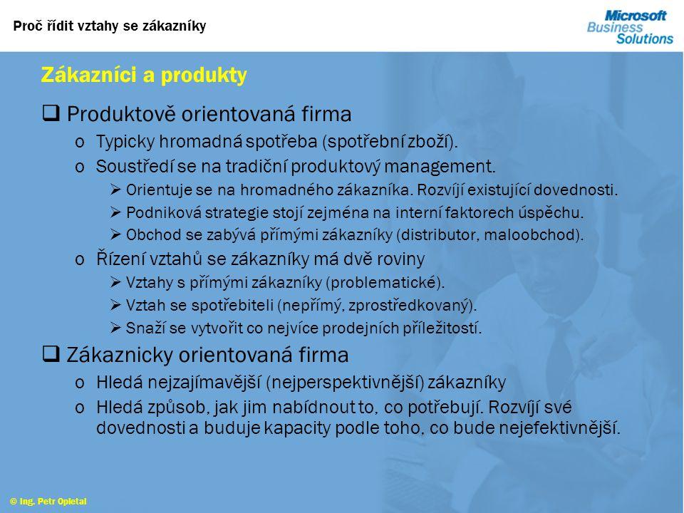 Proč řídit vztahy se zákazníky © Ing. Petr Opletal Organizační aspekty  Manažer zodpovědný za řízení vztahů se zákazníky. oFormulace a rozvoj koncepc