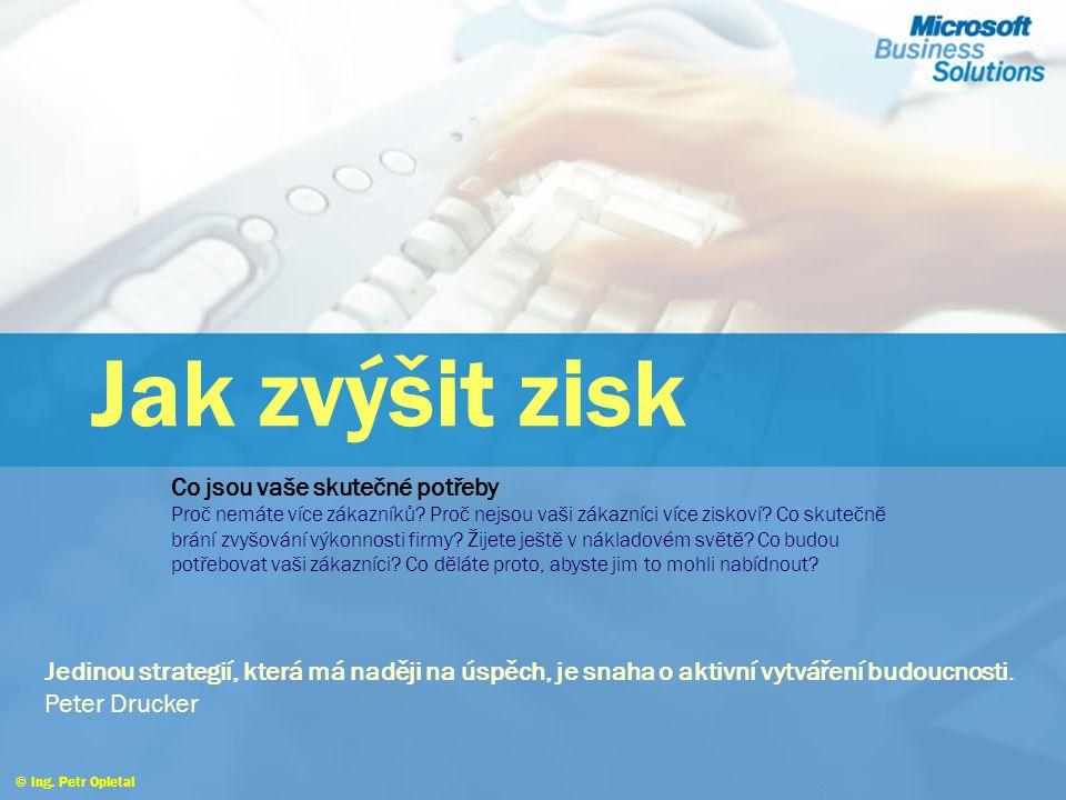 © Ing.Petr Opletal Jak zvýšit zisk Co jsou vaše skutečné potřeby Proč nemáte více zákazníků.