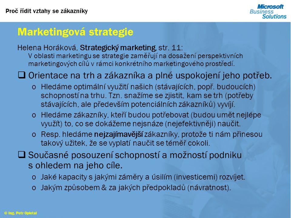 © Ing. Petr Opletal CRM a jeho místo Podniková strategie a zákazníci Nutnost překonat způsoby hodnocení významu zákazníků, produktů a kapacit v nové e