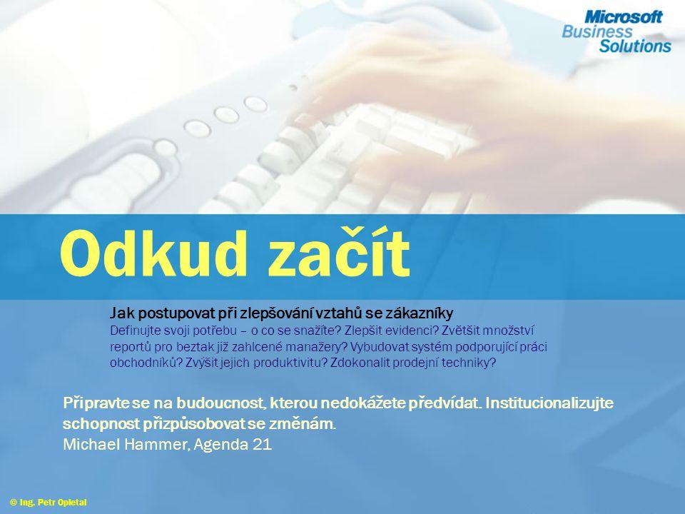 Proč řídit vztahy se zákazníky © Ing. Petr Opletal Groupware a workflow  Správu kontaktů a příležitostí nutno integrovat s běžnými nástroji pro podpo