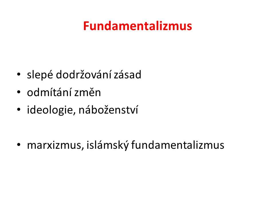 Fundamentalizmus slepé dodržování zásad odmítání změn ideologie, náboženství marxizmus, islámský fundamentalizmus