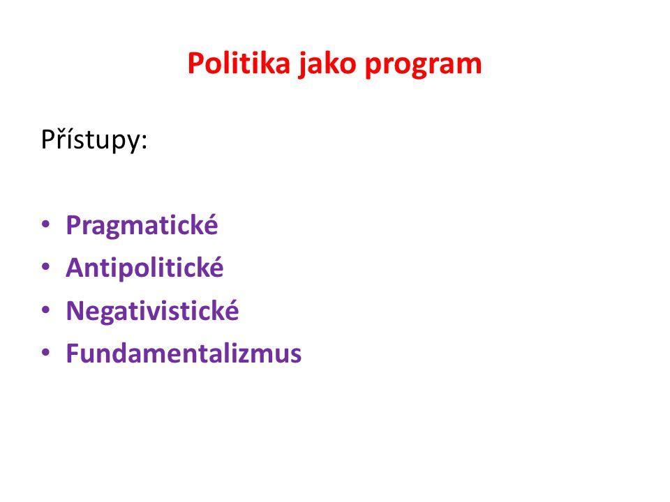 Politika jako program Přístupy: Pragmatické Antipolitické Negativistické Fundamentalizmus