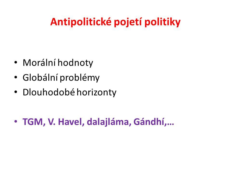 Antipolitické pojetí politiky Morální hodnoty Globální problémy Dlouhodobé horizonty TGM, V. Havel, dalajláma, Gándhí,…