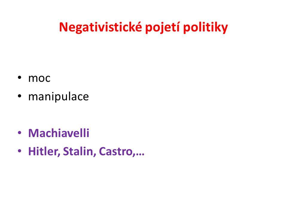 Negativistické pojetí politiky moc manipulace Machiavelli Hitler, Stalin, Castro,…