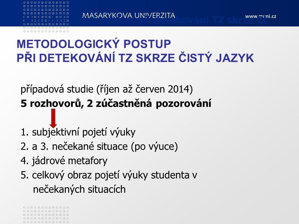 Metodologický postup při detekování TZ skrze CL případová studie (říjen až červen 2014) 5 rozhovorů, 2 zúčastněná pozorování 1. subjektivní pojetí výu