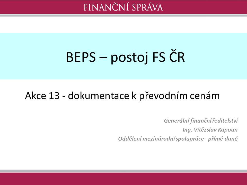 BEPS – postoj FS ČR Generální finanční ředitelství Ing.