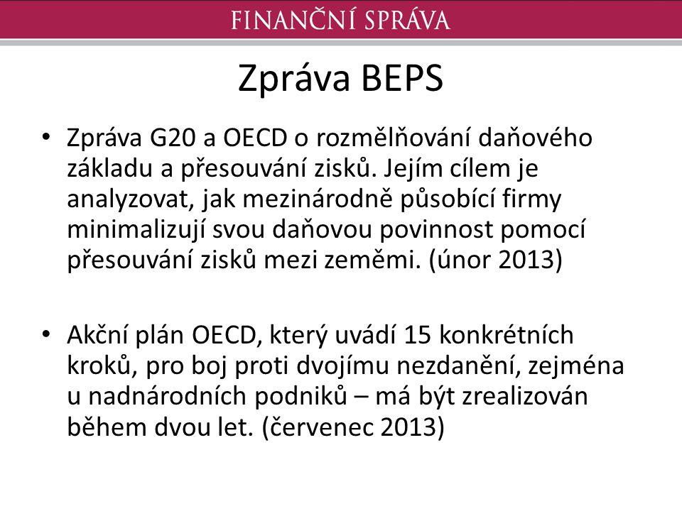 Zpráva BEPS Zpráva G20 a OECD o rozmělňování daňového základu a přesouvání zisků. Jejím cílem je analyzovat, jak mezinárodně působící firmy minimalizu