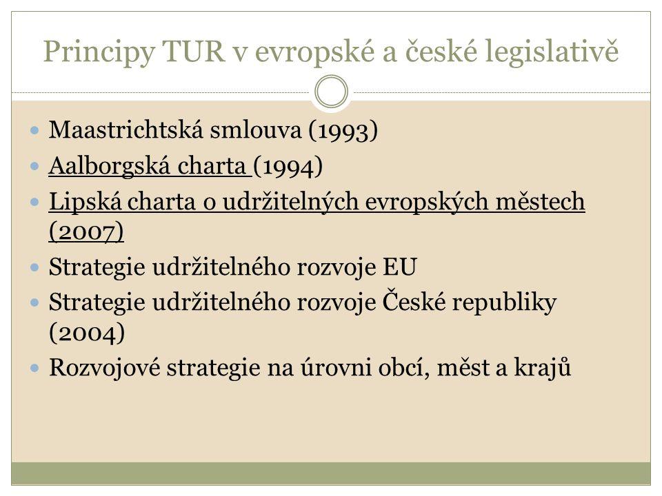 Principy TUR v evropské a české legislativě Maastrichtská smlouva (1993) Aalborgská charta (1994) Lipská charta o udržitelných evropských městech (200