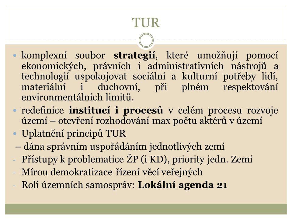 TUR komplexní soubor strategií, které umožňují pomocí ekonomických, právních i administrativních nástrojů a technologií uspokojovat sociální a kulturn