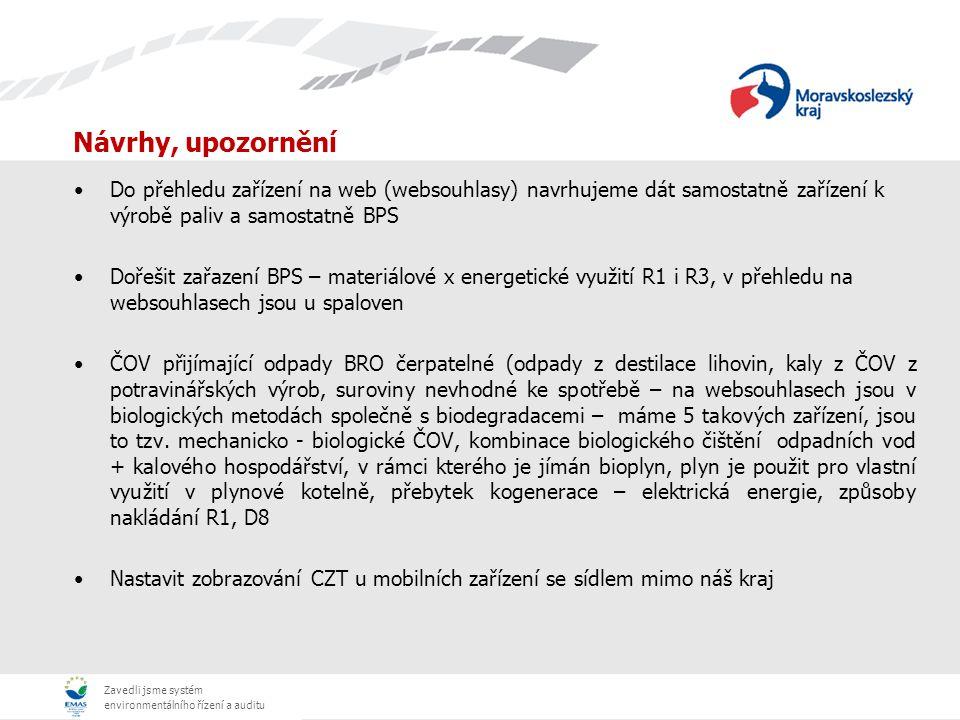 Zavedli jsme systém environmentálního řízení a auditu Návrhy, upozornění Do přehledu zařízení na web (websouhlasy) navrhujeme dát samostatně zařízení k výrobě paliv a samostatně BPS Dořešit zařazení BPS – materiálové x energetické využití R1 i R3, v přehledu na websouhlasech jsou u spaloven ČOV přijímající odpady BRO čerpatelné (odpady z destilace lihovin, kaly z ČOV z potravinářských výrob, suroviny nevhodné ke spotřebě – na websouhlasech jsou v biologických metodách společně s biodegradacemi – máme 5 takových zařízení, jsou to tzv.