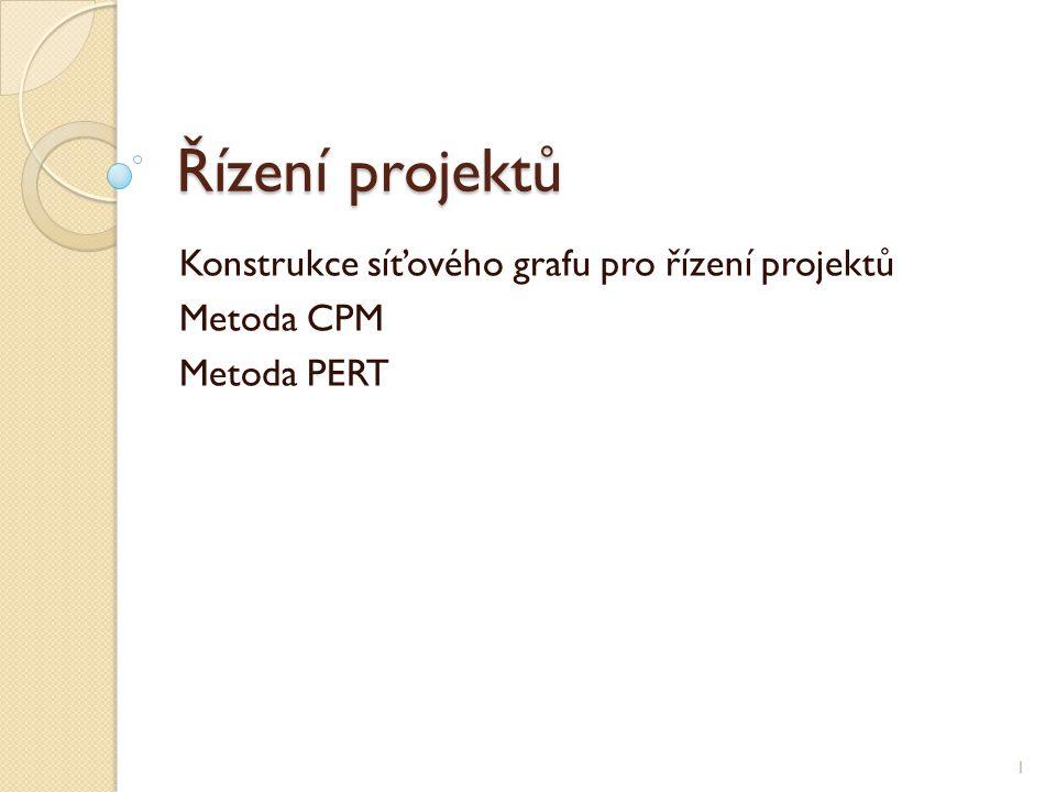 Řízení projektů Konstrukce síťového grafu pro řízení projektů Metoda CPM Metoda PERT 1