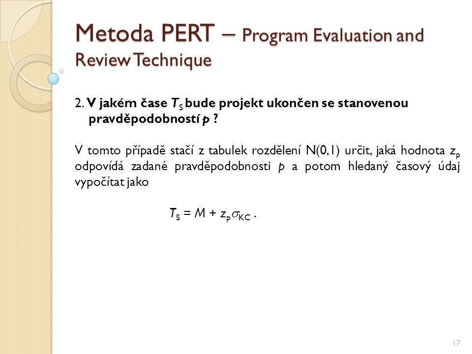 Metoda PERT – Program Evaluation and Review Technique 17 2. V jakém čase T S bude projekt ukončen se stanovenou pravděpodobností p ? V tomto případě s