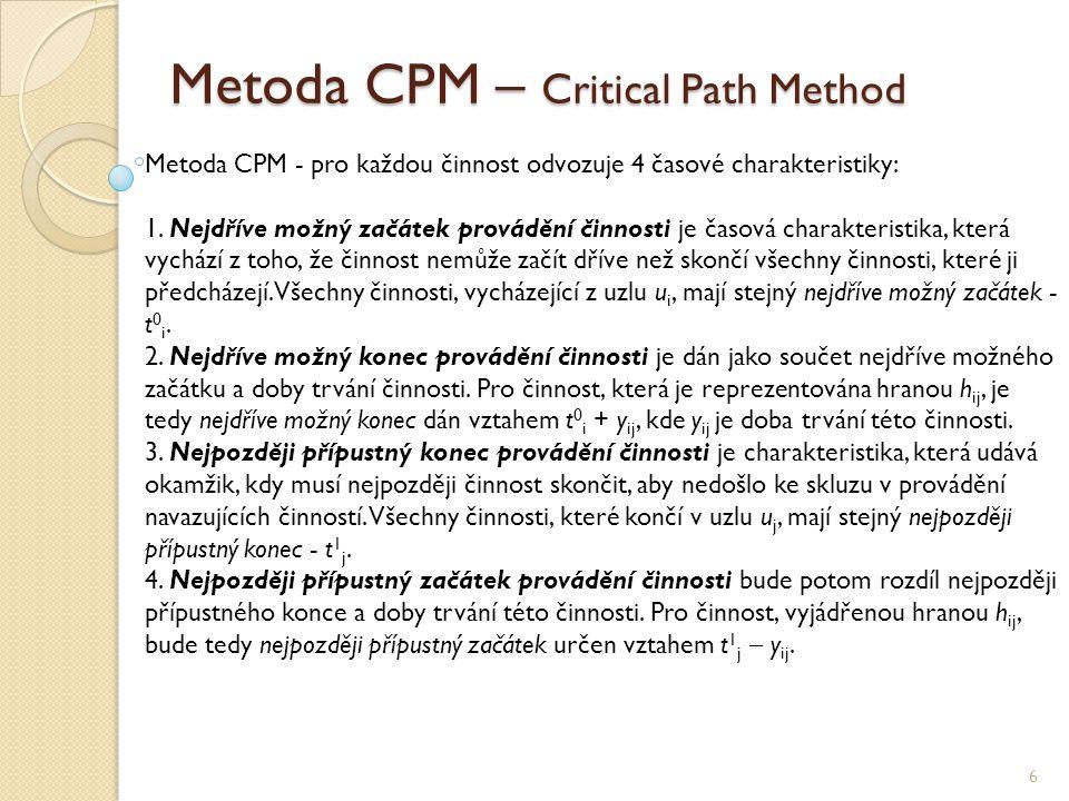 Metoda CPM – Critical Path Method 6 Metoda CPM - pro každou činnost odvozuje 4 časové charakteristiky: 1. Nejdříve možný začátek provádění činnosti je