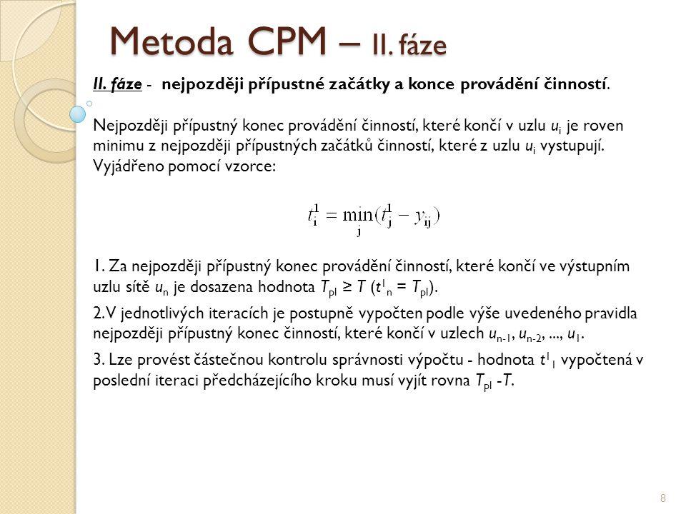 Metoda CPM – II. fáze 8 II. fáze - nejpozději přípustné začátky a konce provádění činností. Nejpozději přípustný konec provádění činností, které končí