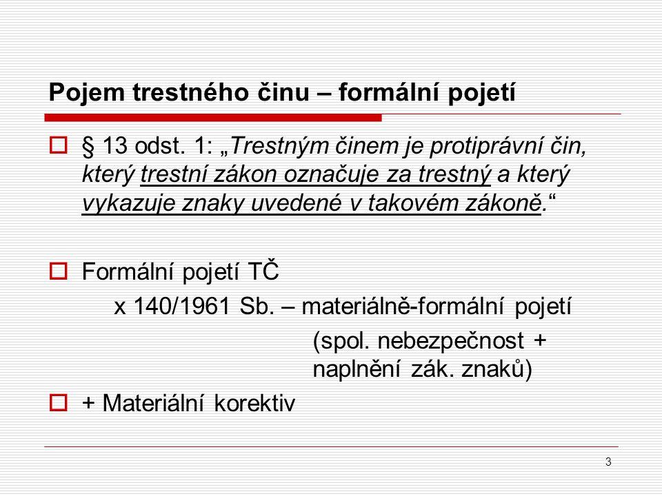 Materiální korektiv formálního pojetí TČ  Hmotněprávní: subsidiarita trestní represe § 12 odst.