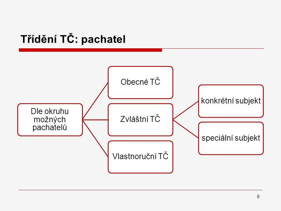 Třídění TČ: pachatel 8 Dle okruhu možných pachatelů Obecné TČZvláštní TČkonkrétní subjektspeciální subjektVlastnoruční TČ