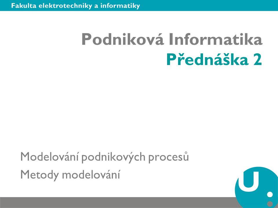 Podniková Informatika Přednáška 2 Modelování podnikových procesů Metody modelování