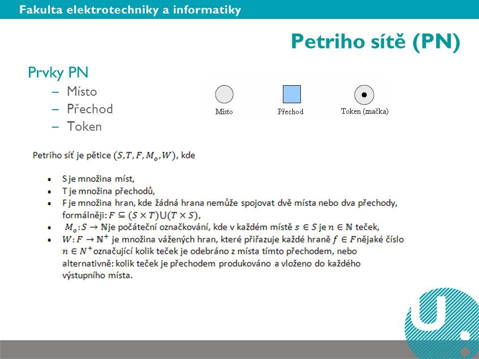 Petriho sítě (PN) Prvky PN –Místo –Přechod –Token