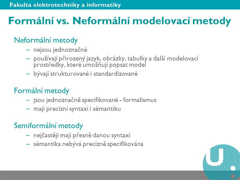 Formální vs. Neformální modelovací metody Neformální metody –nejsou jednoznačné –používají přirozený jazyk, obrázky, tabulky a další modelovací prostř