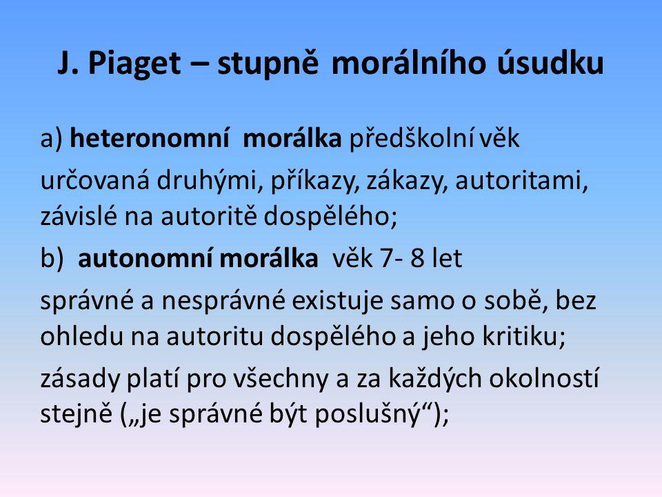 J. Piaget – stupně morálního úsudku a) heteronomní morálka předškolní věk určovaná druhými, příkazy, zákazy, autoritami, závislé na autoritě dospělého