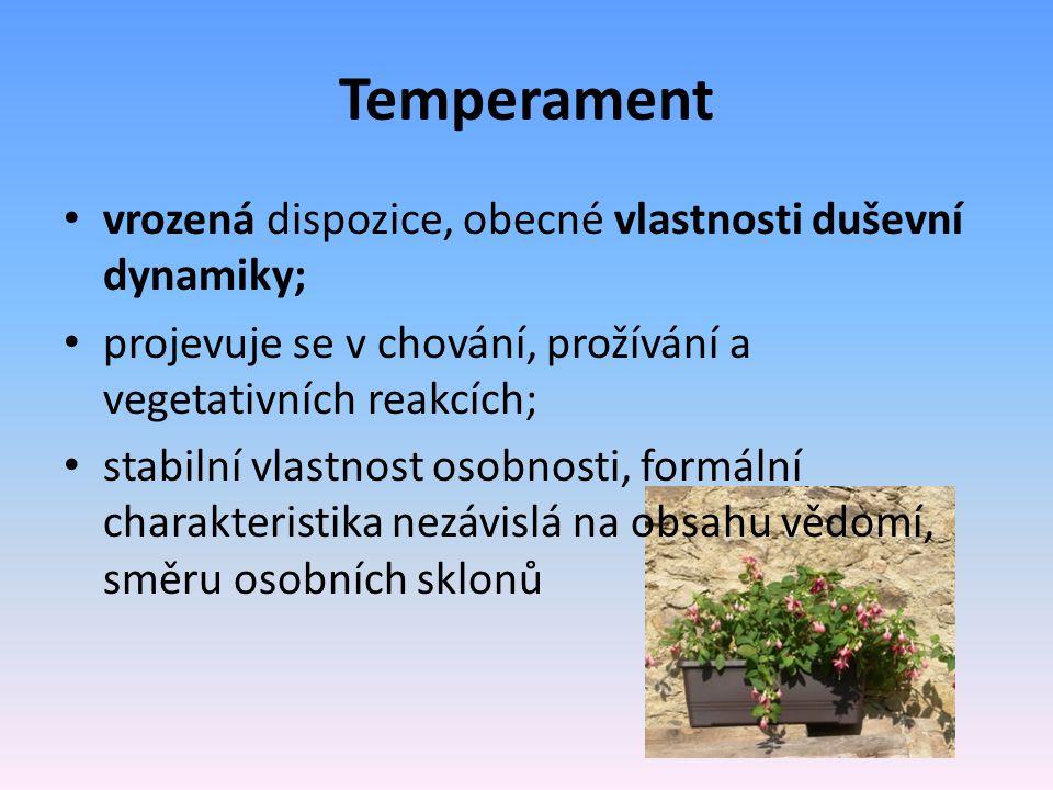 1) rychlost, osobní tempo; 2) charakter obecného citového ladění (prožívání) a) intenzita a hloubka emocí; b) stabilita a vyrovnanost citových prožitků; c) odolnost vůči vnějším vlivům; d) citová reaktivita; 3) celková reaktivita (chování) a) intenzita reakcí; b) stabilita a vyrovnanost chování; c) odolnost vůči vnějším vlivům; d) reaktivita; 4) vegetativní reakce;