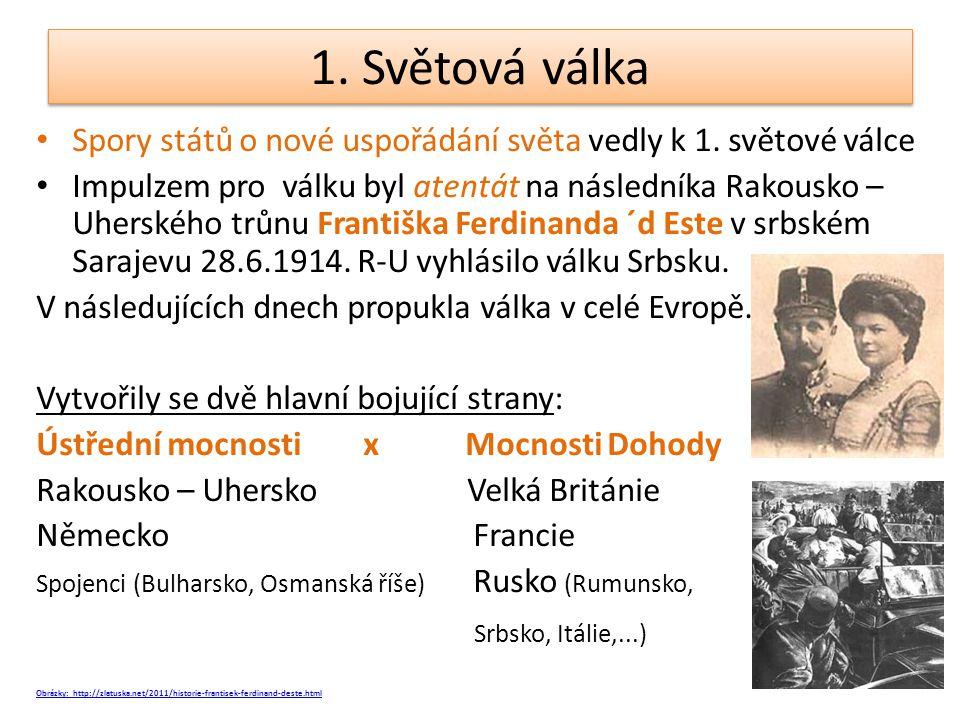 1. Světová válka Spory států o nové uspořádání světa vedly k 1. světové válce Impulzem pro válku byl atentát na následníka Rakousko – Uherského trůnu