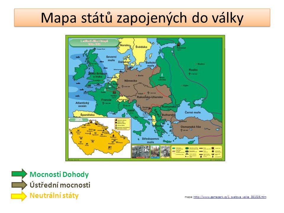 Mapa států zapojených do války Mocnosti Dohody Ústřední mocnosti Neutrální státy mapa: http://www.gamepark.cz/1_svetova_valka_381026.htmhttp://www.gam
