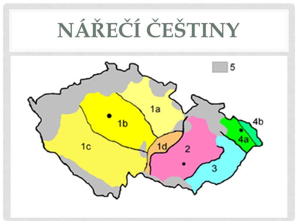 ČESKÁ NÁŘEČÍ mluvené formy českého jazyka, omezené na určité oblasti Česka nářečí = dialekt, dialektologie = nauka o nářečí rozdělují se do 4 skupin: 1)česká 2)středomoravská (hanácká) 3)východomoravská (moravskoslovenská) 4)slezská (lašská)
