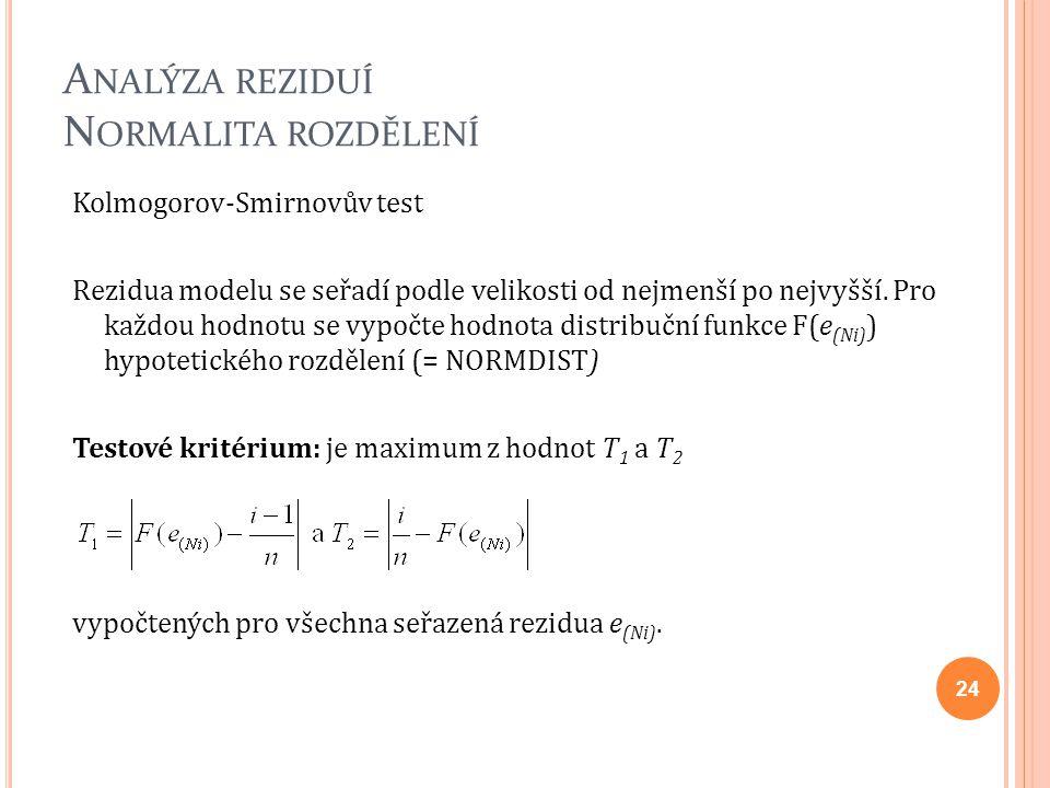 A NALÝZA REZIDUÍ N ORMALITA ROZDĚLENÍ Kolmogorov-Smirnovův test Rezidua modelu se seřadí podle velikosti od nejmenší po nejvyšší. Pro každou hodnotu s
