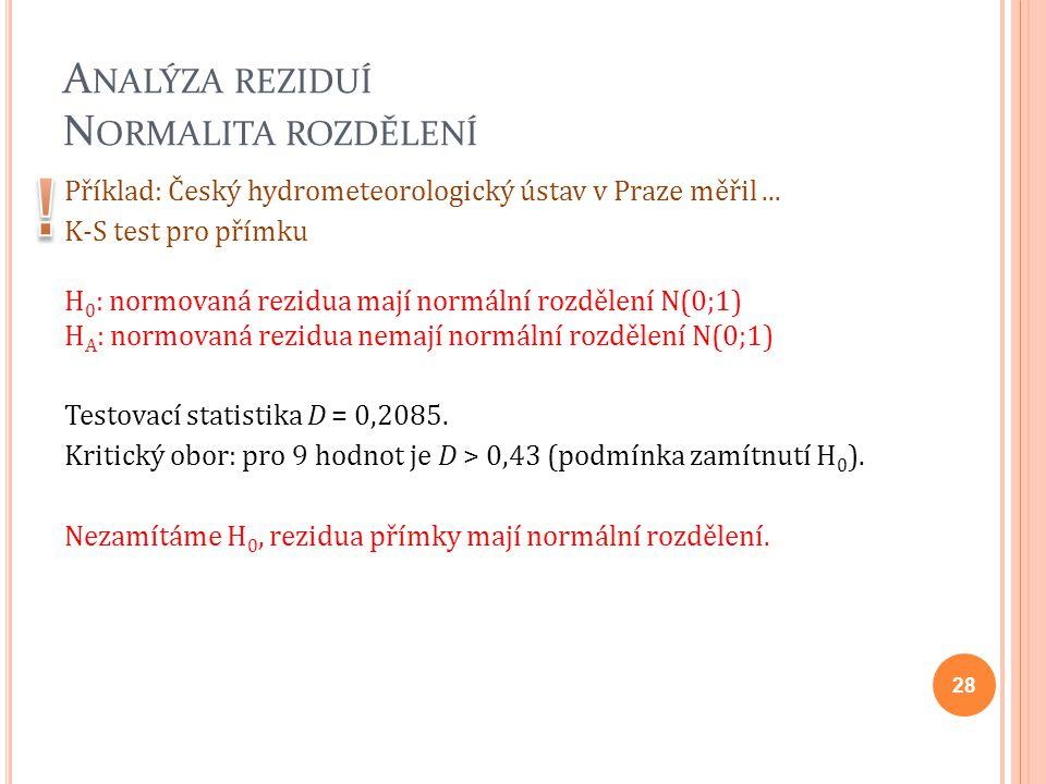 A NALÝZA REZIDUÍ N ORMALITA ROZDĚLENÍ Příklad: Český hydrometeorologický ústav v Praze měřil... K-S test pro přímku H 0 : normovaná rezidua mají normá
