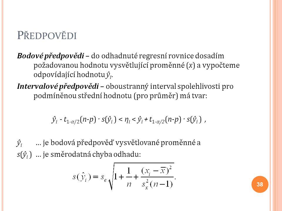 P ŘEDPOVĚDI Bodové předpovědi – do odhadnuté regresní rovnice dosadím požadovanou hodnotu vysvětlující proměnné (x) a vypočteme odpovídající hodnotu ŷ