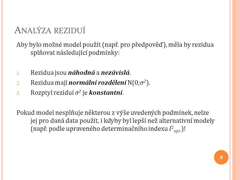 A NALÝZA REZIDUÍ Aby bylo možné model použít (např. pro předpověď), měla by rezidua splňovat následující podmínky: 1. Rezidua jsou náhodná a nezávislá