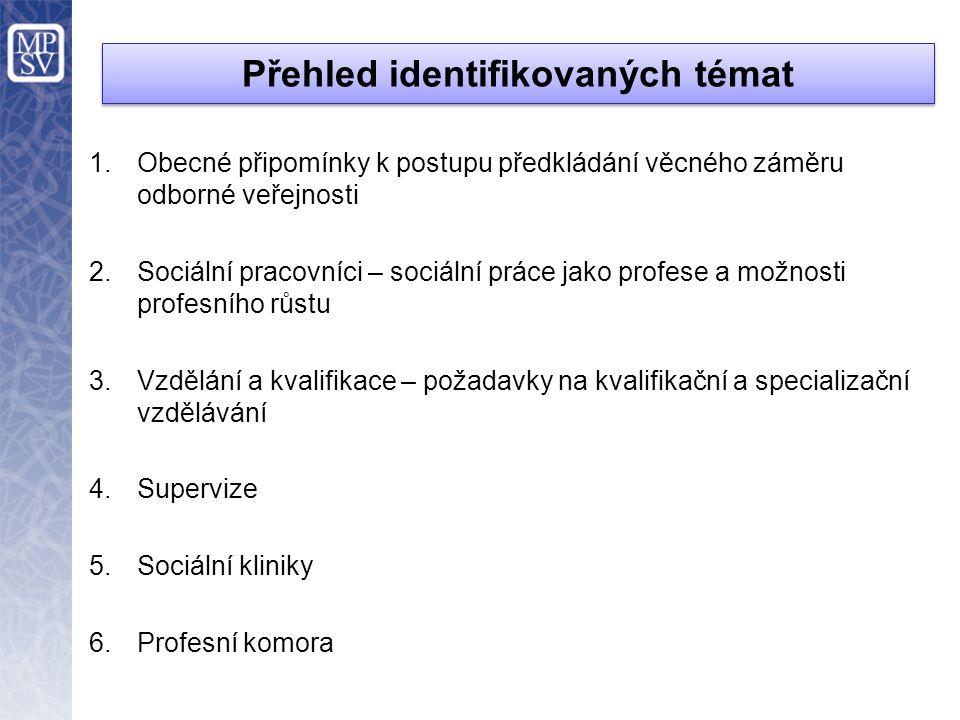 1.Obecné připomínky k postupu předkládání věcného záměru odborné veřejnosti 2.Sociální pracovníci – sociální práce jako profese a možnosti profesního