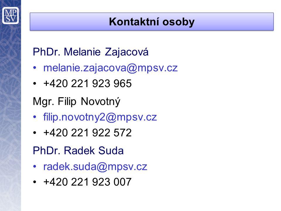 Kontaktní osoby PhDr.Melanie Zajacová melanie.zajacova@mpsv.cz +420 221 923 965 Mgr.