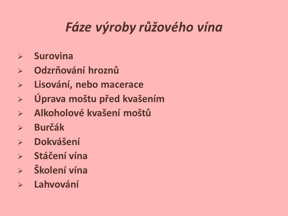 Fáze výroby růžového vína  Surovina  Odzrňování hroznů  Lisování, nebo macerace  Úprava moštu před kvašením  Alkoholové kvašení moštů  Burčák 