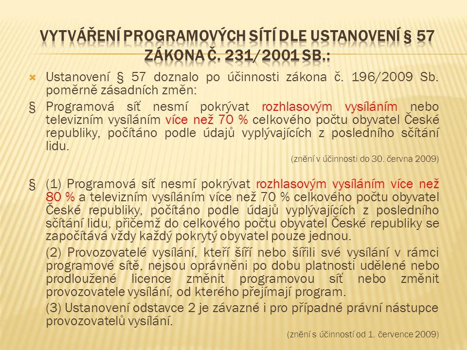  Ustanovení § 57 doznalo po účinnosti zákona č. 196/2009 Sb. poměrně zásadních změn: §Programová síť nesmí pokrývat rozhlasovým vysíláním nebo televi