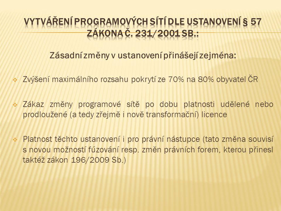 Zásadní změny v ustanovení přinášejí zejména:  Zvýšení maximálního rozsahu pokrytí ze 70% na 80% obyvatel ČR  Zákaz změny programové sítě po dobu pl