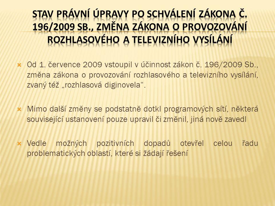 Vzhledem ke změnám a rozšíření okruhu práv a povinností pro provozovatele vysílání v programové síti musí RRTV pro výkon úkolů ve své působnosti podle ustanovení § 5 písm.