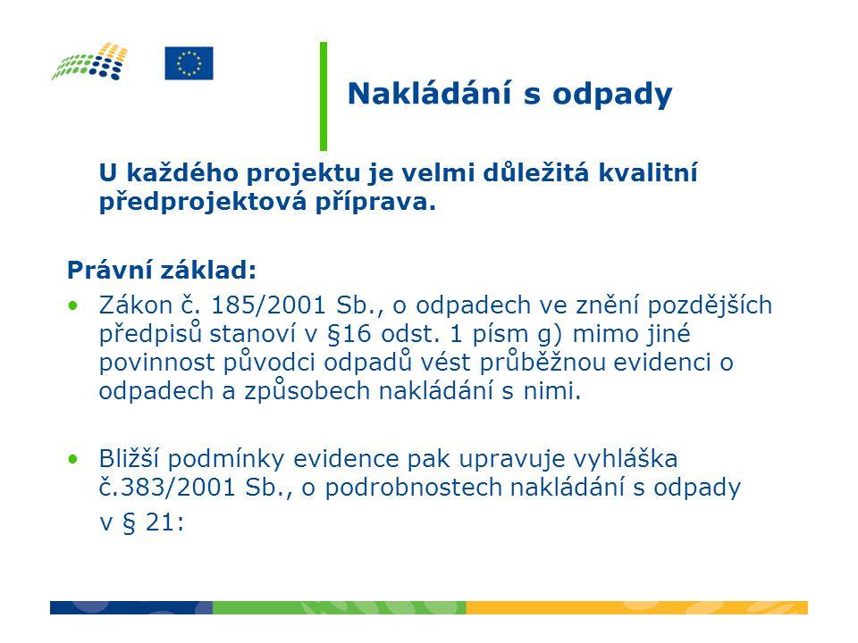 Nakládání s odpady U každého projektu je velmi důležitá kvalitní předprojektová příprava. Právní základ: Zákon č. 185/2001 Sb., o odpadech ve znění po