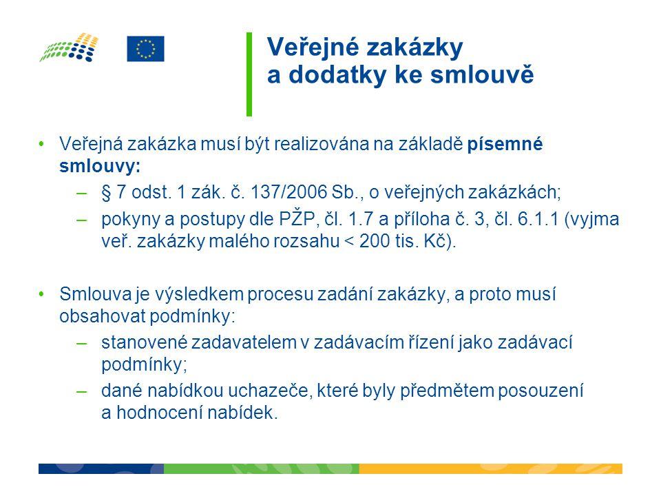 Veřejné zakázky a dodatky ke smlouvě Veřejná zakázka musí být realizována na základě písemné smlouvy: –§ 7 odst. 1 zák. č. 137/2006 Sb., o veřejných z