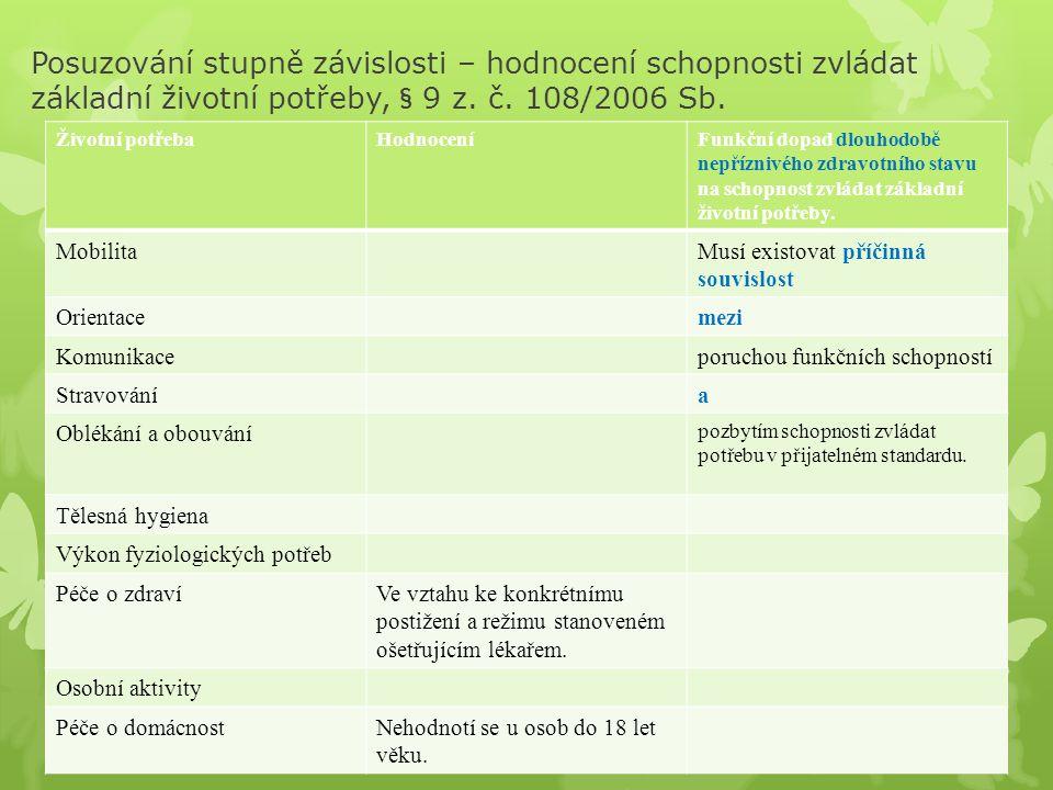 Posuzování stupně závislosti – hodnocení schopnosti zvládat základní životní potřeby, § 9 z. č. 108/2006 Sb. Životní potřebaHodnoceníFunkční dopad dlo