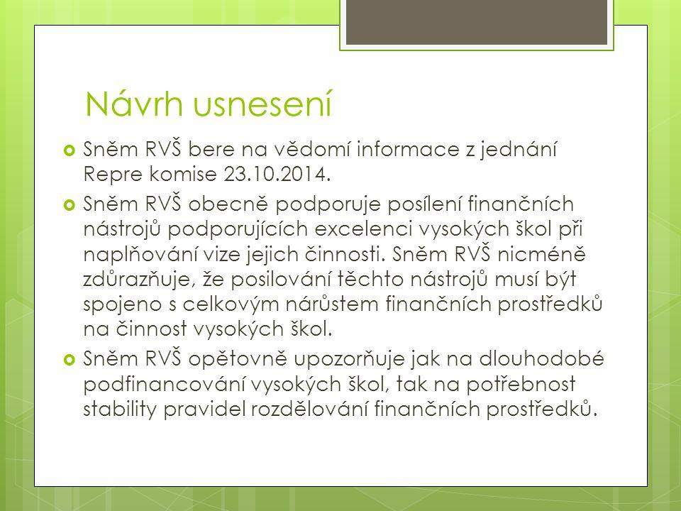 Návrh usnesení  Sněm RVŠ bere na vědomí informace z jednání Repre komise 23.10.2014.  Sněm RVŠ obecně podporuje posílení finančních nástrojů podporu