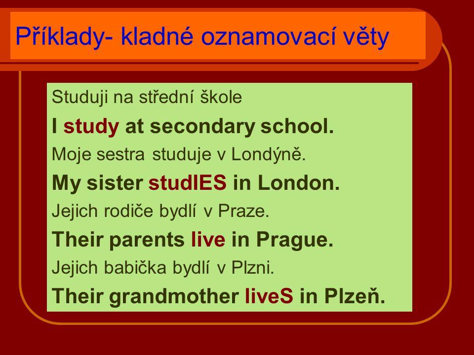 Příklady- kladné oznamovací věty Studuji na střední škole I study at secondary school.