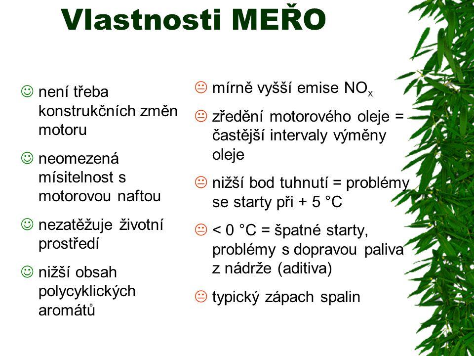 Vlastnosti MEŘO není třeba konstrukčních změn motoru neomezená mísitelnost s motorovou naftou nezatěžuje životní prostředí nižší obsah polycyklických