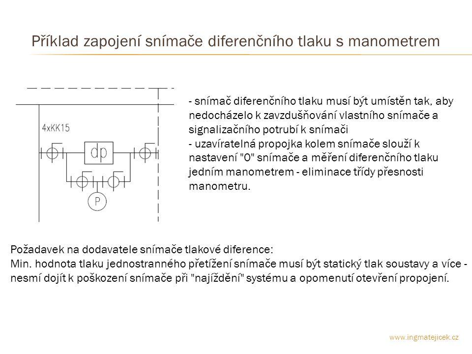 Příklad zapojení snímače diferenčního tlaku s manometrem - snímač diferenčního tlaku musí být umístěn tak, aby nedocházelo k zavzdušňování vlastního snímače a signalizačního potrubí k snímači - uzavíratelná propojka kolem snímače slouží k nastavení 0 snímače a měření diferenčního tlaku jedním manometrem - eliminace třídy přesnosti manometru.