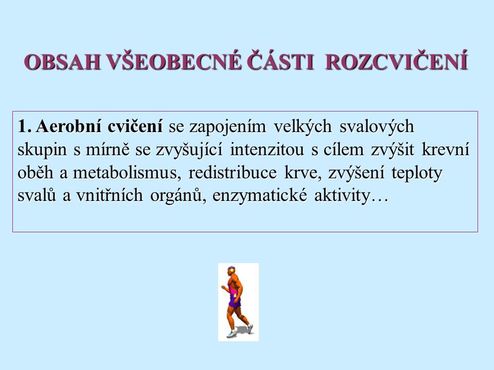 Aerobní cvičení se zapojením velkých svalových skupin s mírně se zvyšující intenzitou s cílem zvýšit krevní oběh a metabolismus, redistribuce krve, zv